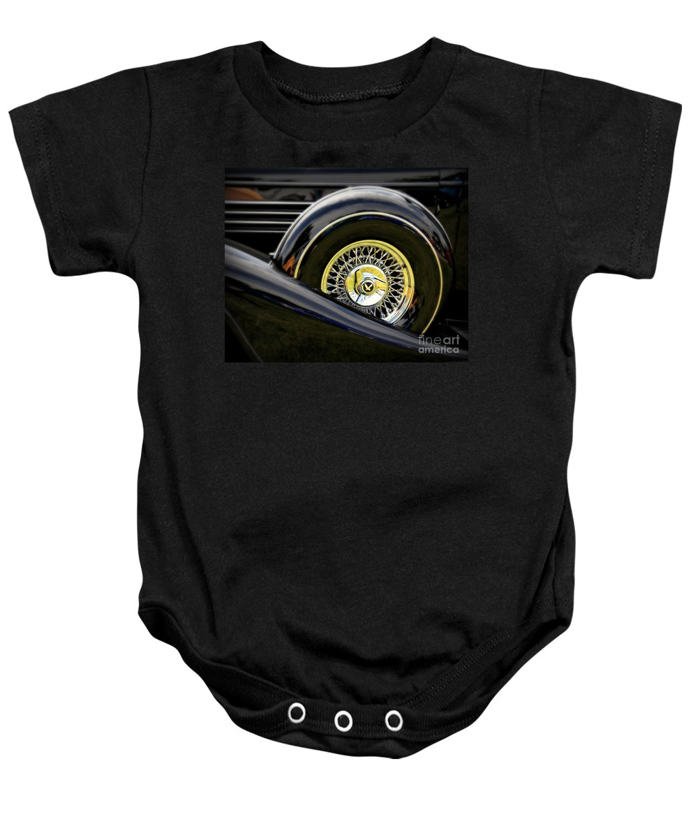 Car Baby Onesie featuring the photograph Black Classic by Perry Webster
