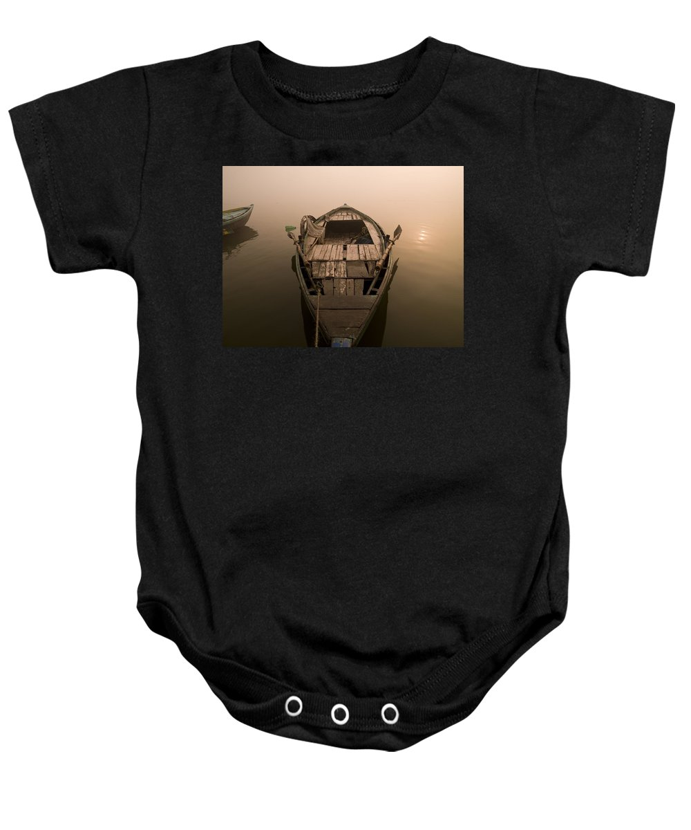 Boat Baby Onesie featuring the photograph Boat In The Water, Varanasi, India by Keith Levit