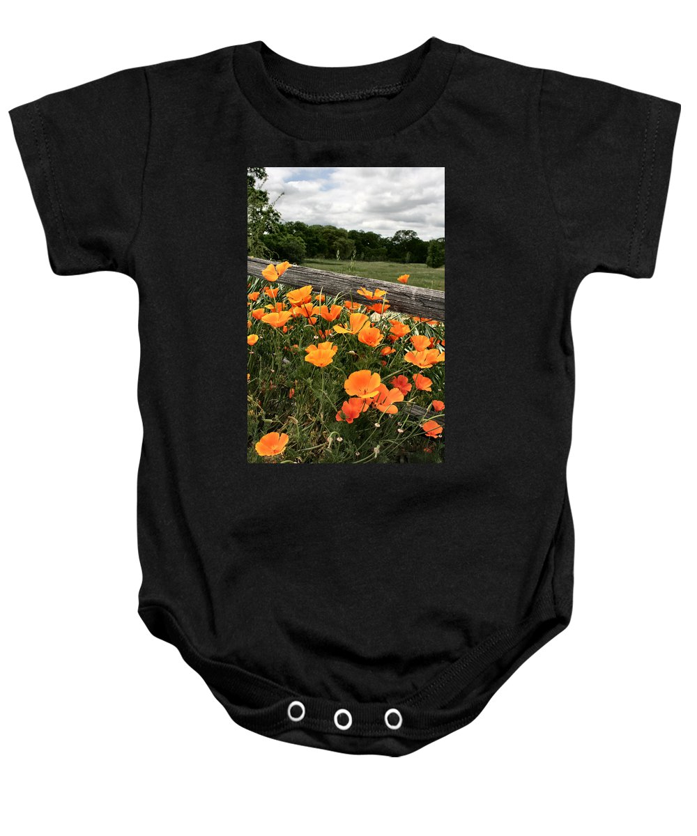 Poppies Baby Onesie featuring the photograph California Poppies by Sally Bauer
