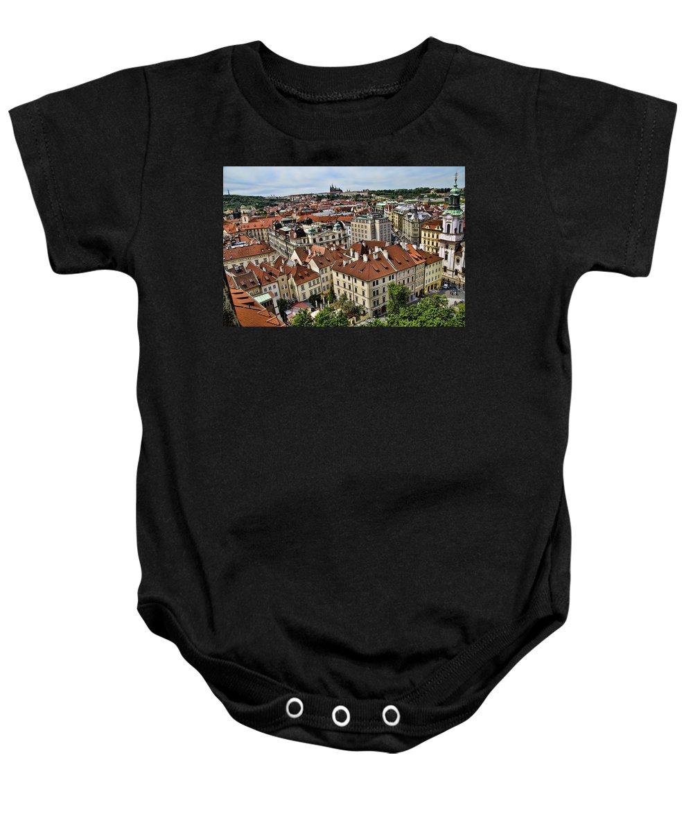 Prague Baby Onesie featuring the photograph Clock Tower View - Prague by Jon Berghoff