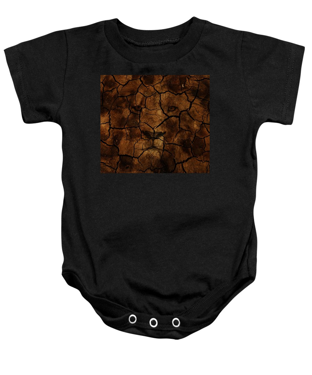 Lion Baby Onesie featuring the photograph Cracks Of A King by The Artist Project