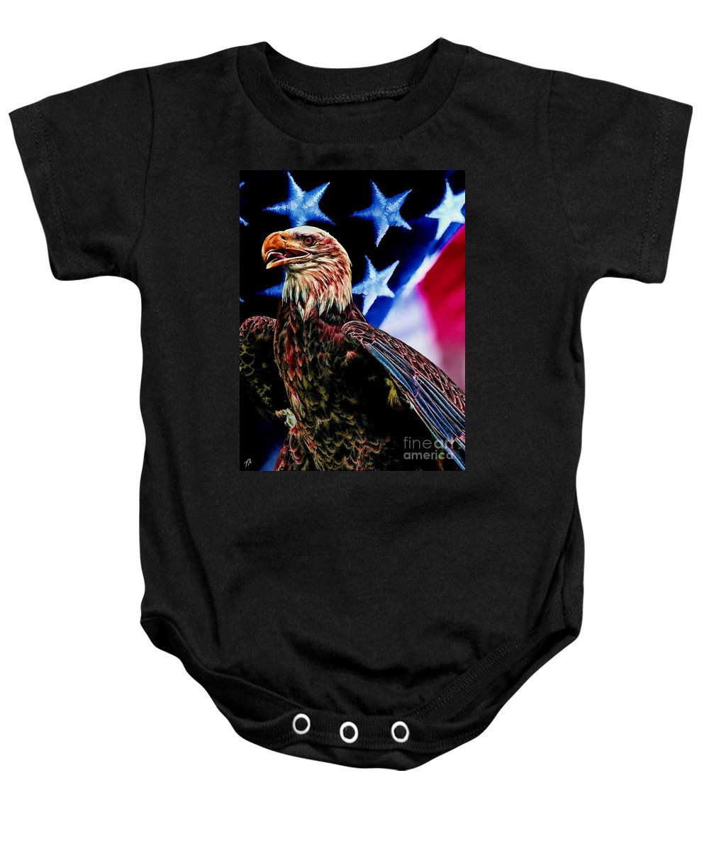 Eagle Baby Onesie featuring the digital art Freedom by Tommy Anderson