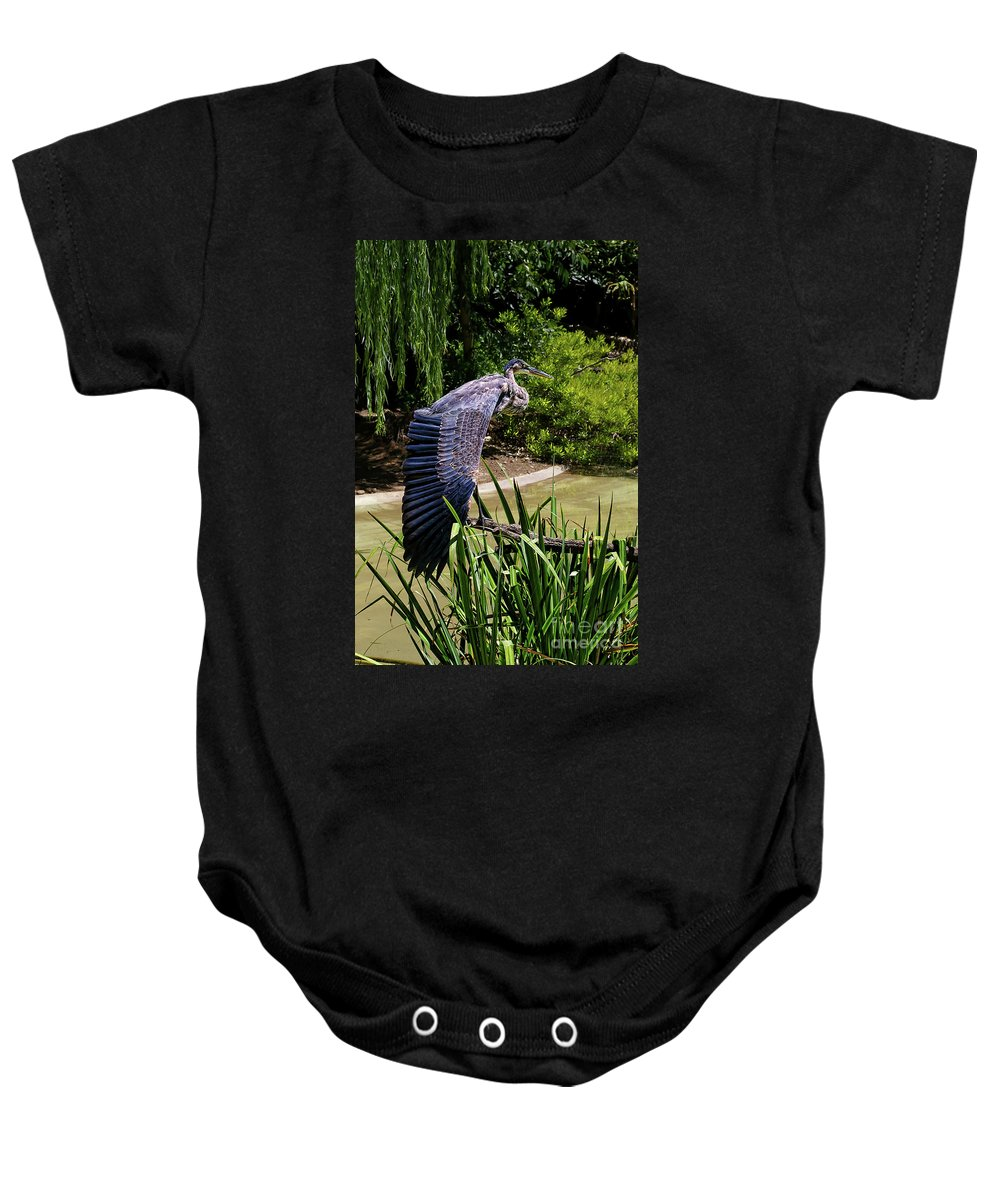 Great Blue Heron Baby Onesie featuring the photograph Great Blue Heron by Mariola Bitner