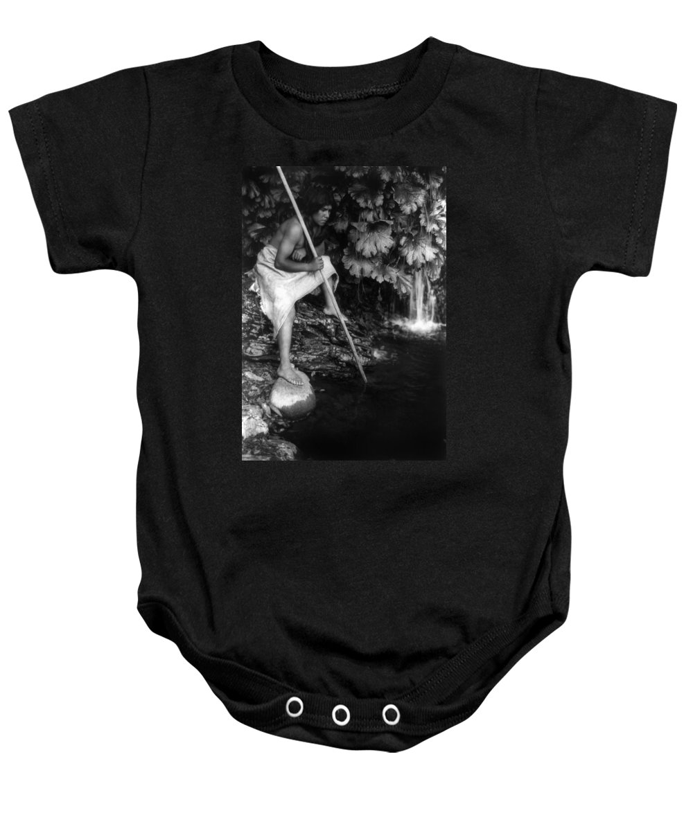 1923 Baby Onesie featuring the photograph Hupa Fisherman, C1923 by Granger