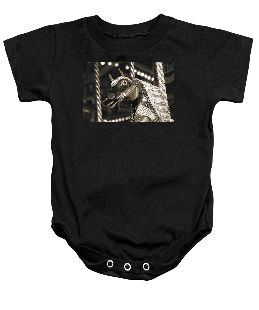 Carousel Baby Onesie featuring the photograph Joby The Carousel Horse by Beth Riser