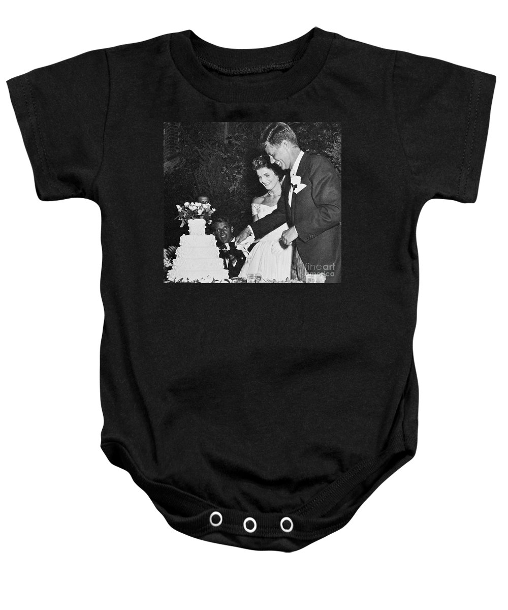 1953 Baby Onesie featuring the photograph John F. Kennedy (1917-1963) by Granger