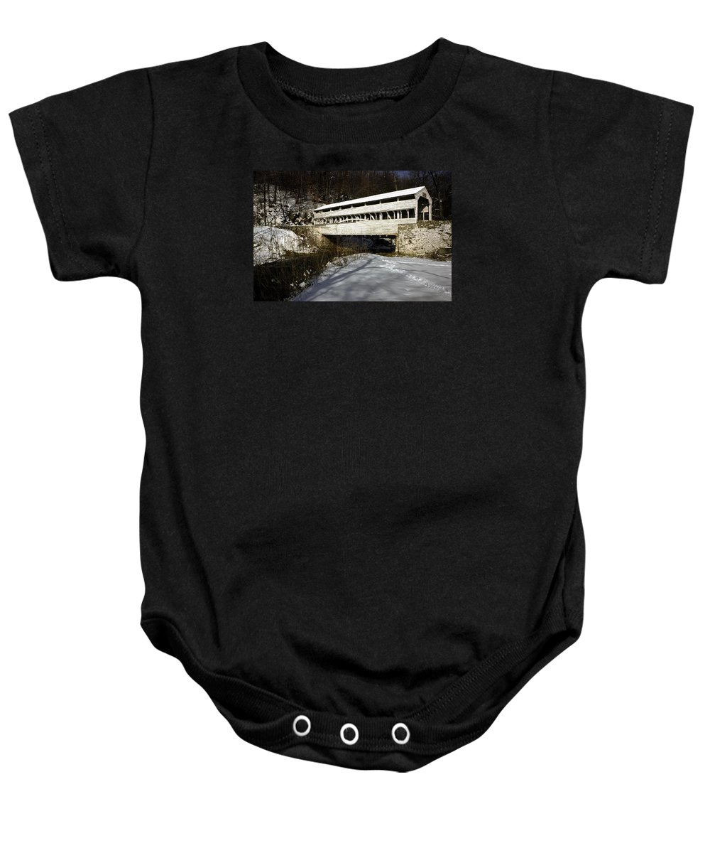 Knox Covered Bridge Baby Onesie featuring the photograph Knox Covered Bridge by Sally Weigand