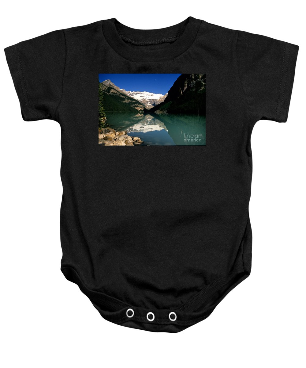 Lake Louise Baby Onesie featuring the photograph Lake Louise IIi by Sharon Elliott