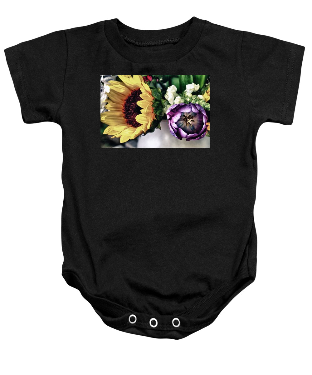 Sunflower Baby Onesie featuring the photograph May Flowers I by Linda Dunn
