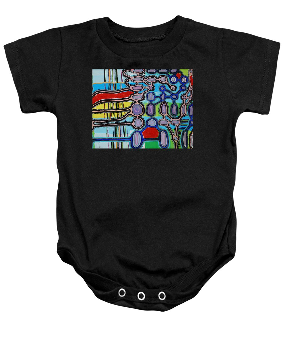 Rithm Baby Onesie featuring the painting network II by Laura Vizbule