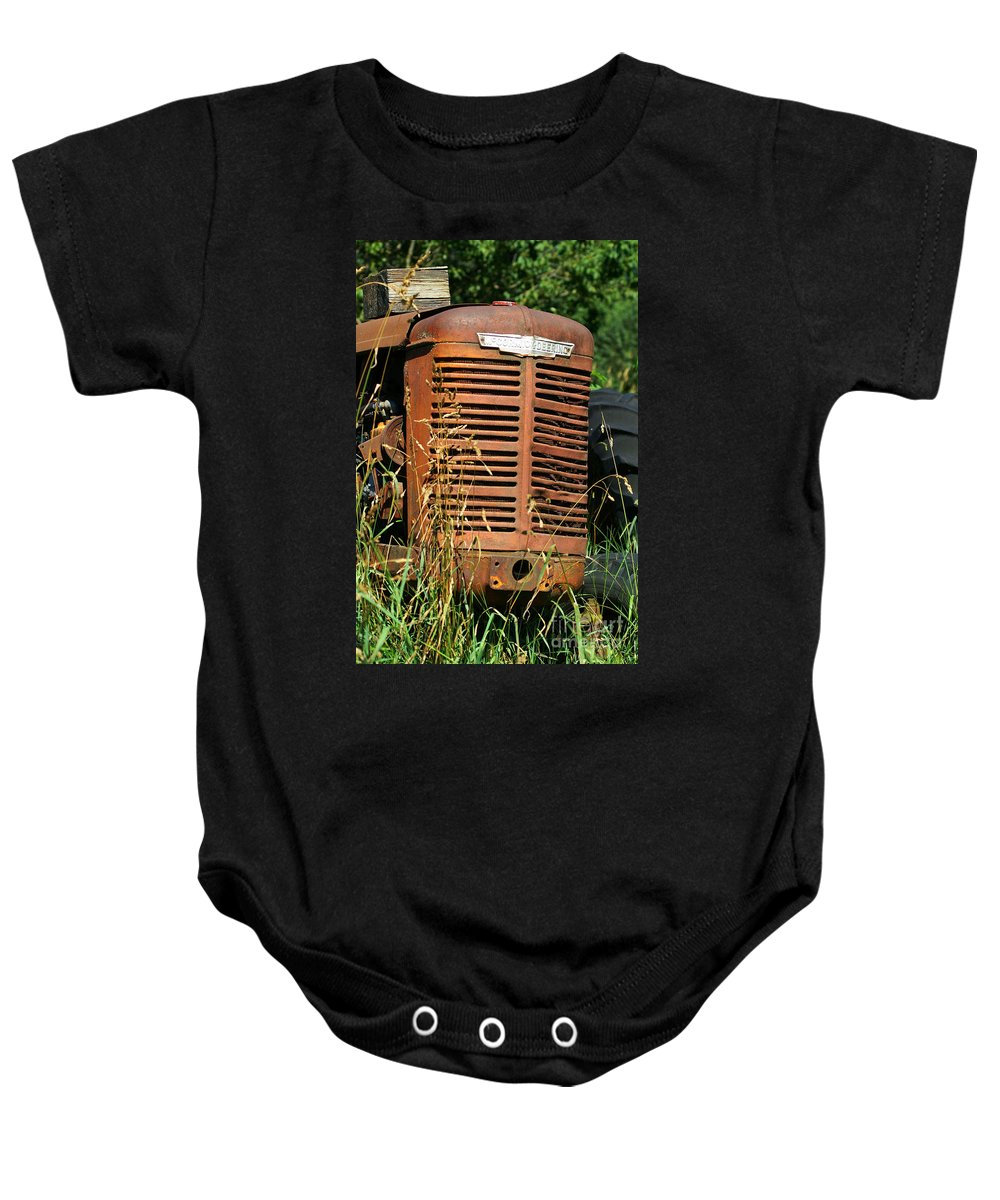 Tractors Baby Onesie featuring the photograph Old Mccormick Deering by Randy Harris