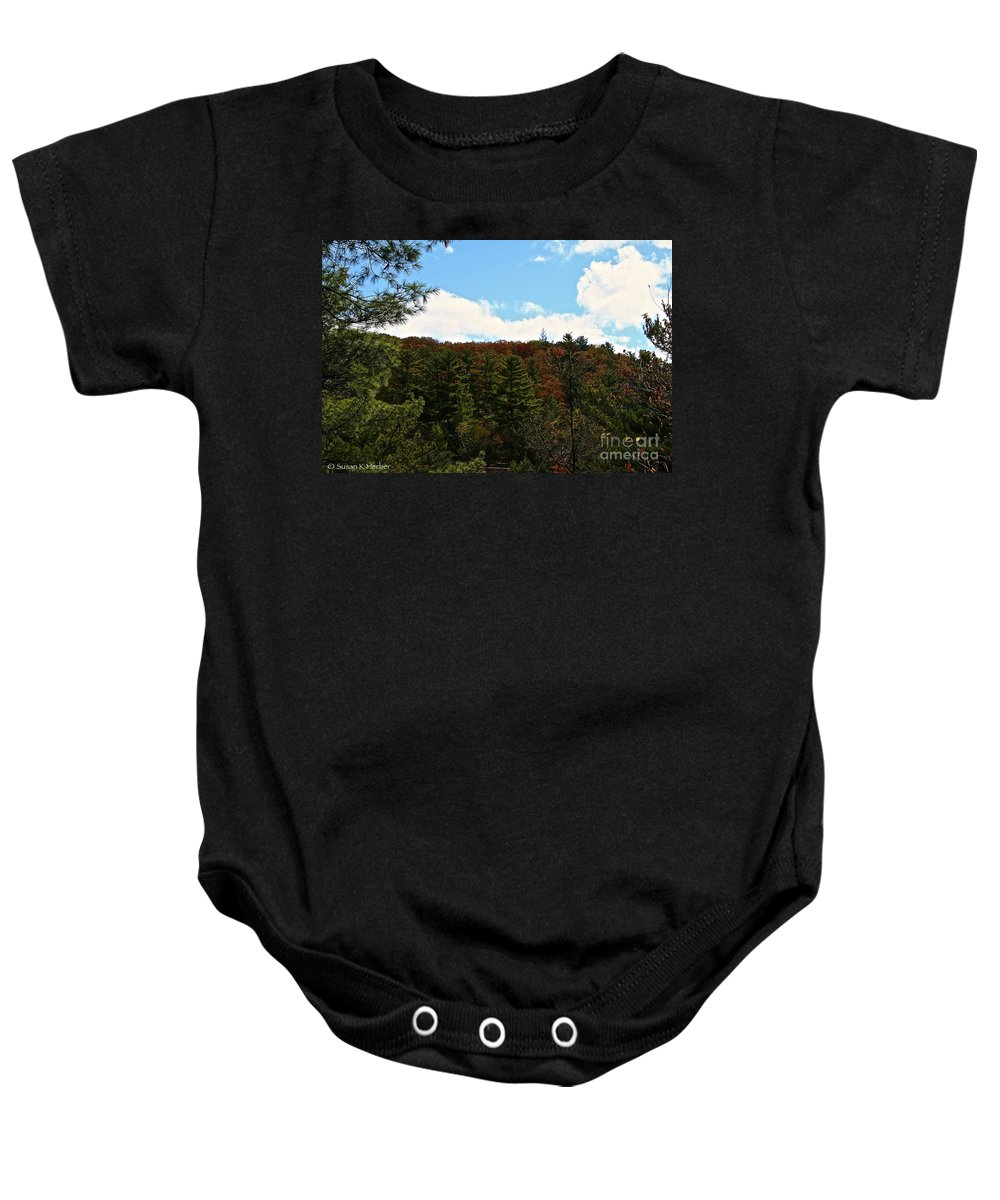 Landscape Baby Onesie featuring the photograph Partly Cloudy by Susan Herber