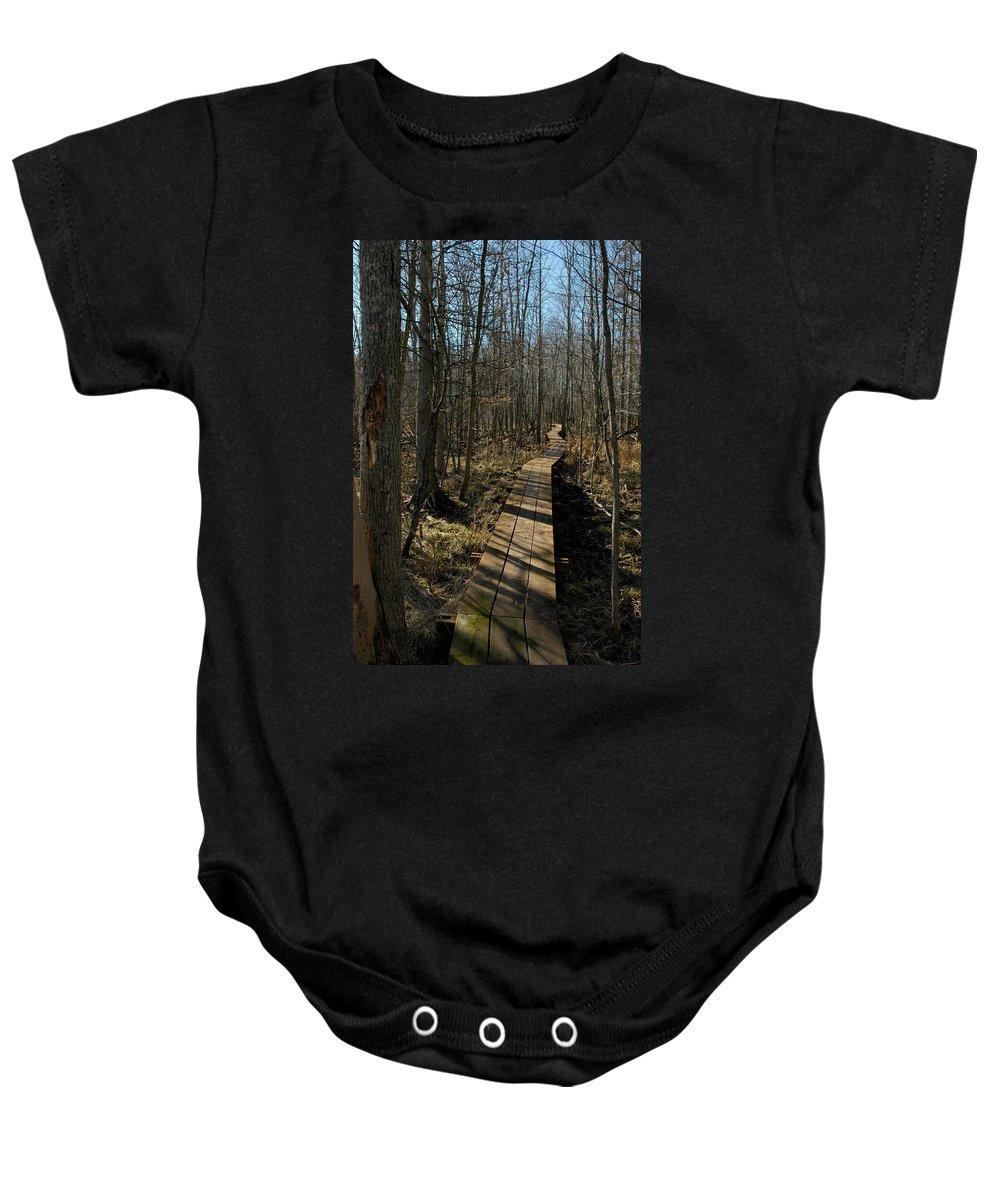 Usa Baby Onesie featuring the photograph Path Into The Woods by LeeAnn McLaneGoetz McLaneGoetzStudioLLCcom