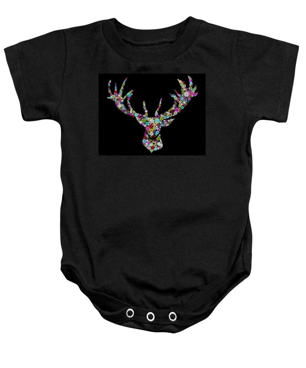 Animal Baby Onesie featuring the digital art Reindeer Design By Snowflakes by Setsiri Silapasuwanchai