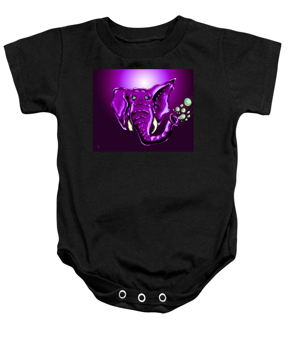 Elephant Baby Onesie featuring the drawing Ringo Party Animal Purple by Adam Vance