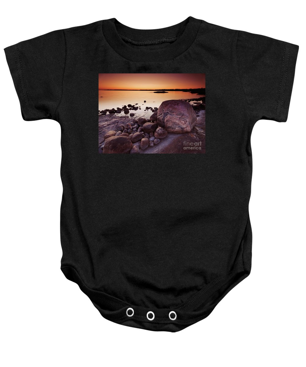 Nature Baby Onesie featuring the photograph Rocky Shore At Twilight by Oleksiy Maksymenko