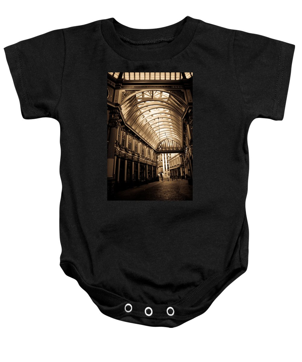 Leadenhall Baby Onesie featuring the photograph Sepia Toned Image Of Leadenhall Market London by David Pyatt