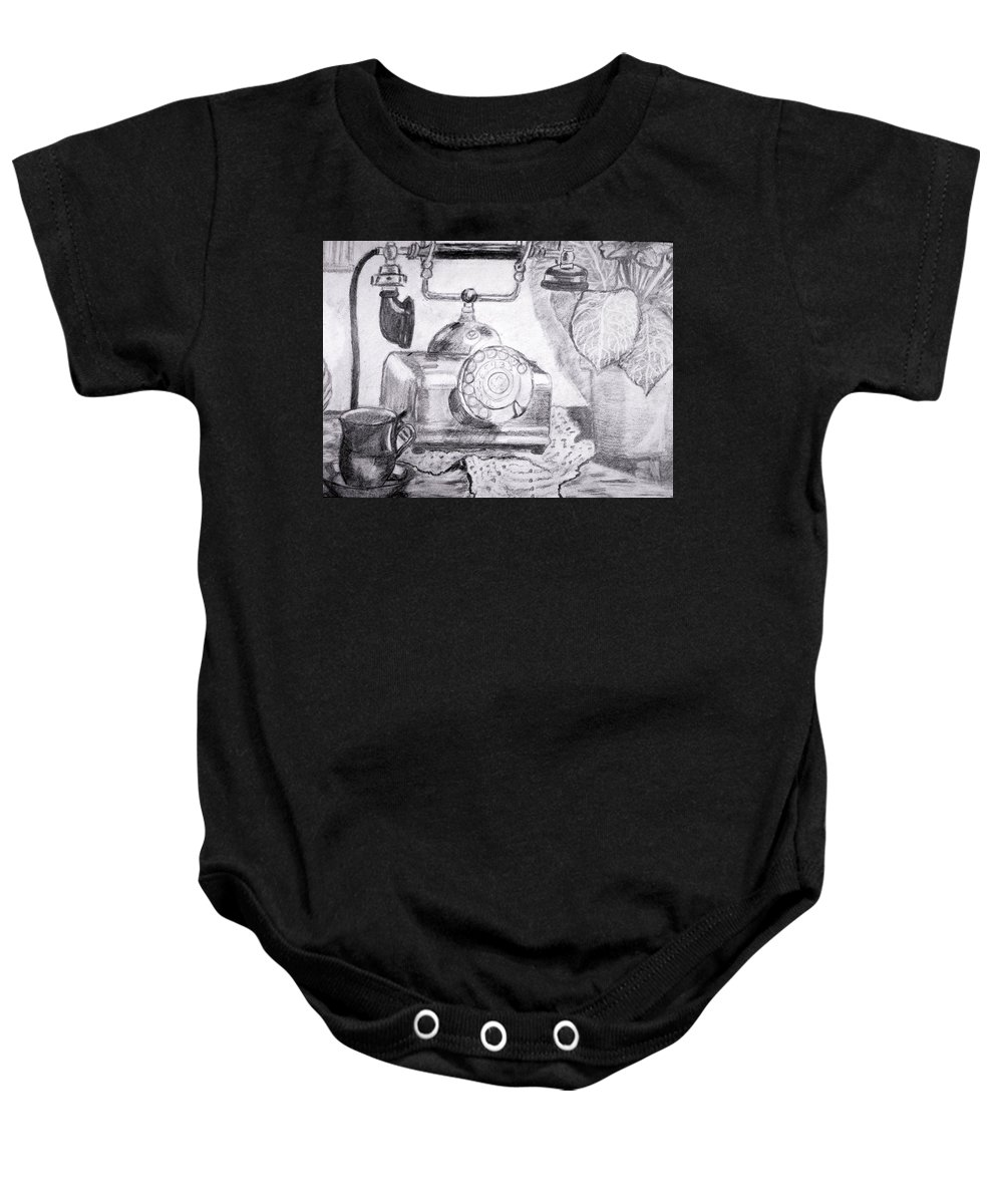 Antique Phone Baby Onesie featuring the drawing Tea Time by Vickie G Buccini