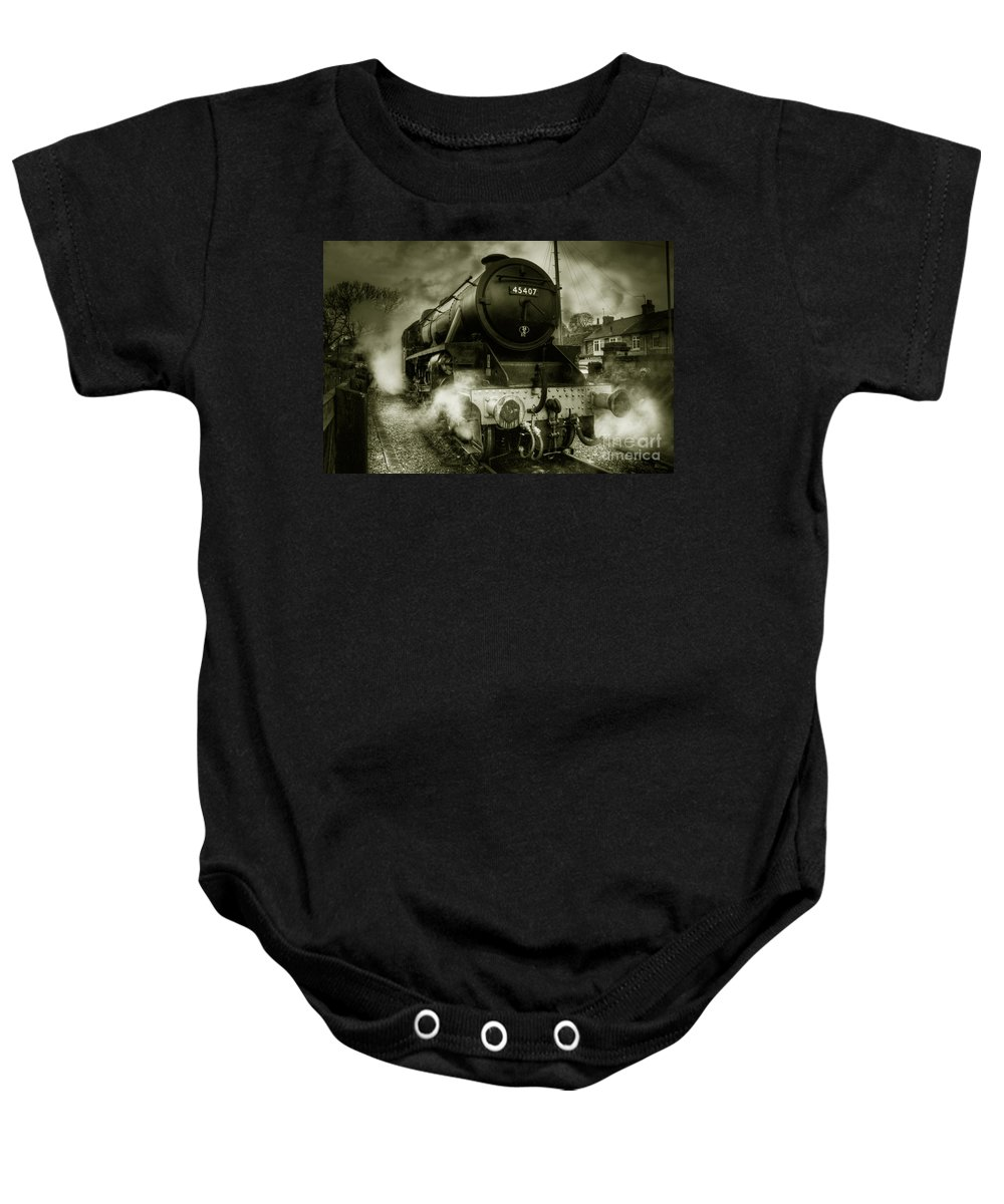 Steam Baby Onesie featuring the photograph The Black Five by Rob Hawkins