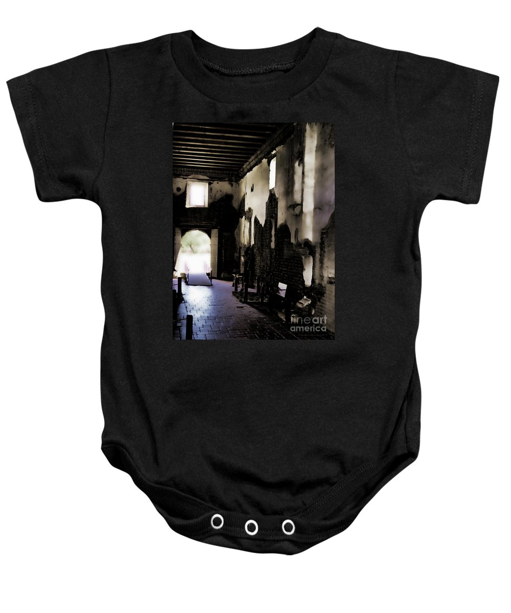 Fine Art Photography Baby Onesie featuring the photograph The Ghostly Nave by Donna Greene