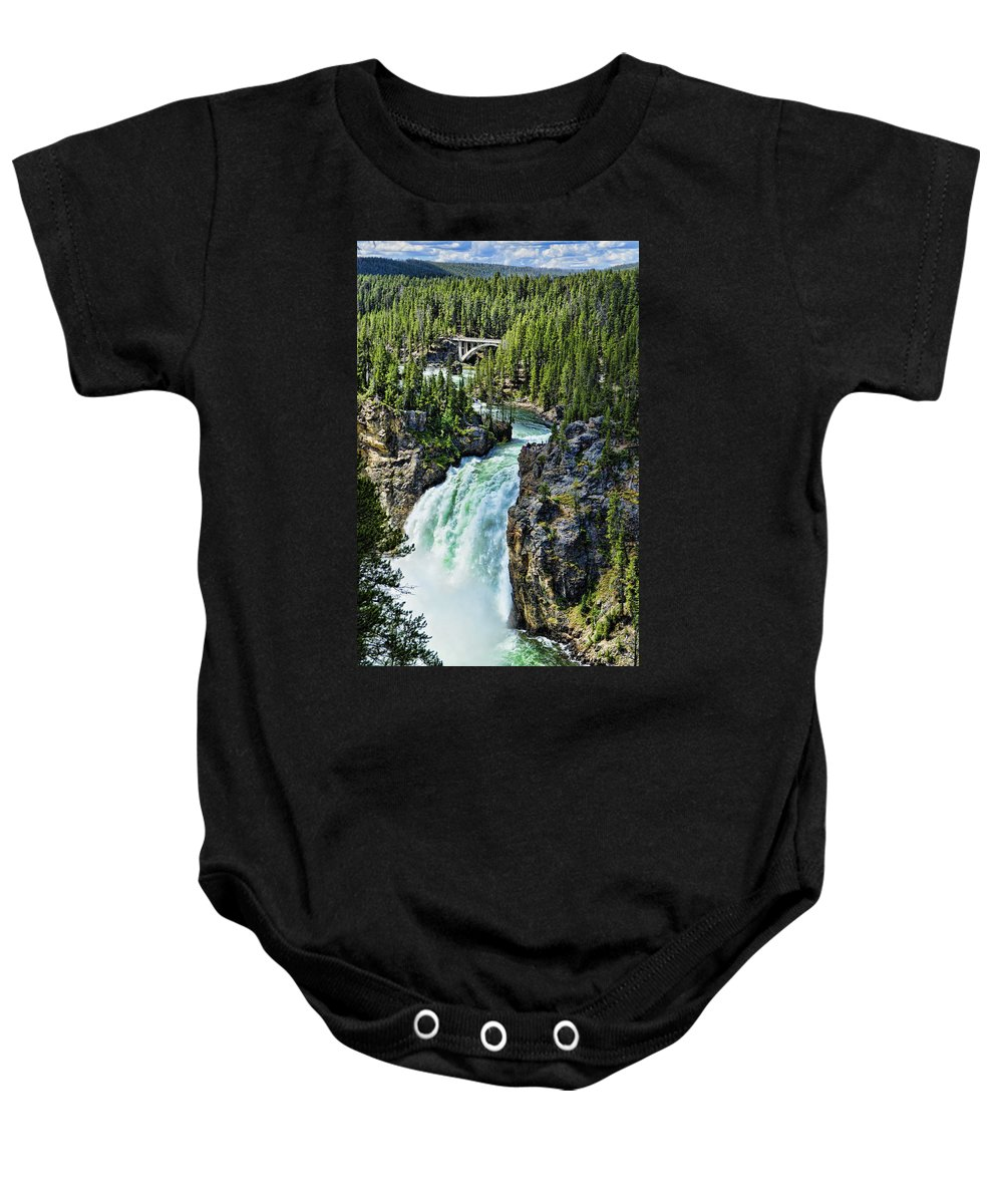 Yellowstone National Park Baby Onesie featuring the photograph Upper Falls by Jon Berghoff