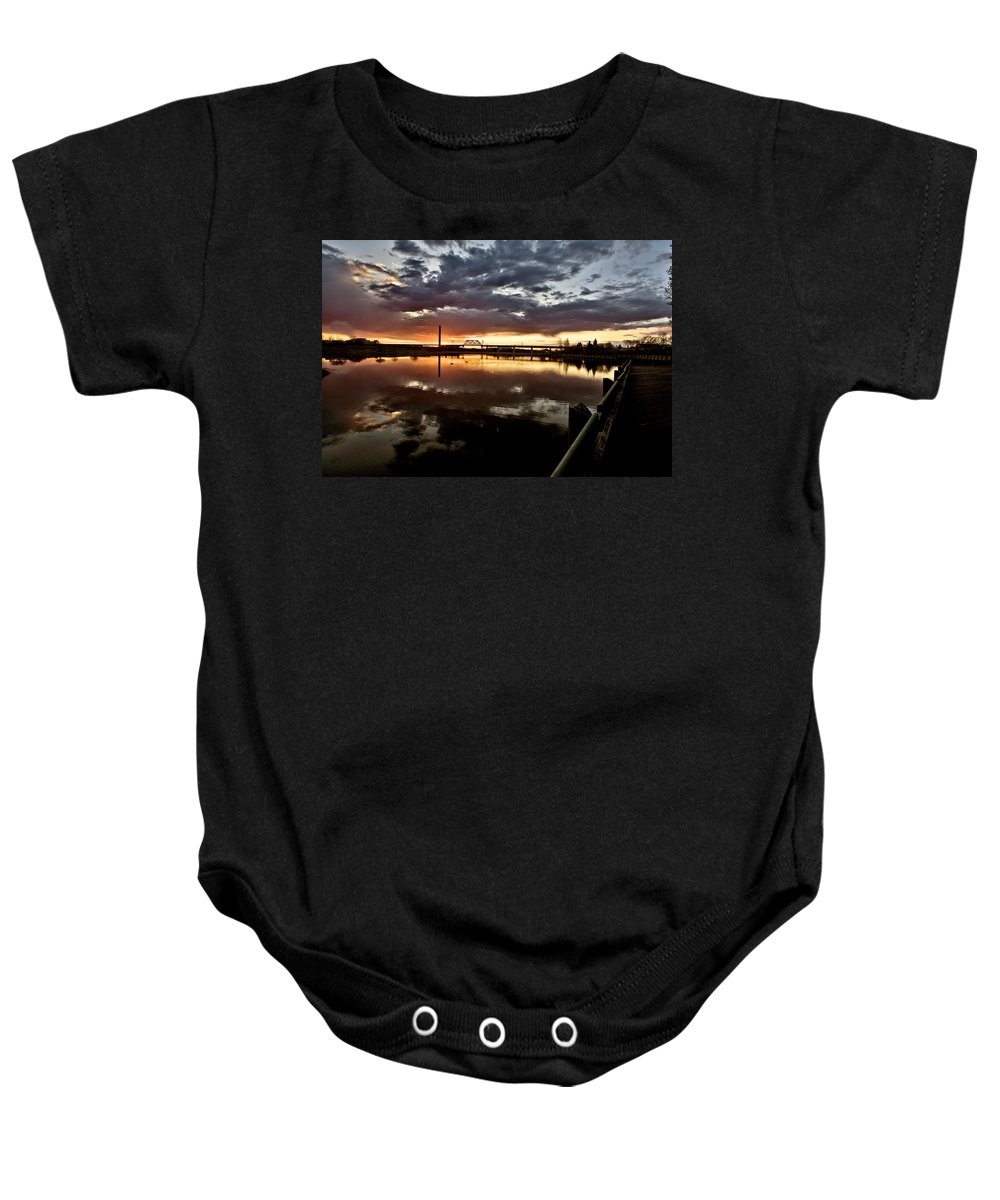 Reflection Baby Onesie featuring the digital art Wakamaw Valley Sunrise by Mark Duffy