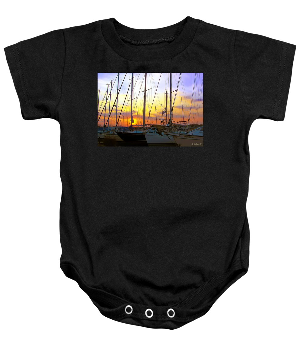 2d Baby Onesie featuring the photograph White Rocks Marina Sunset by Brian Wallace
