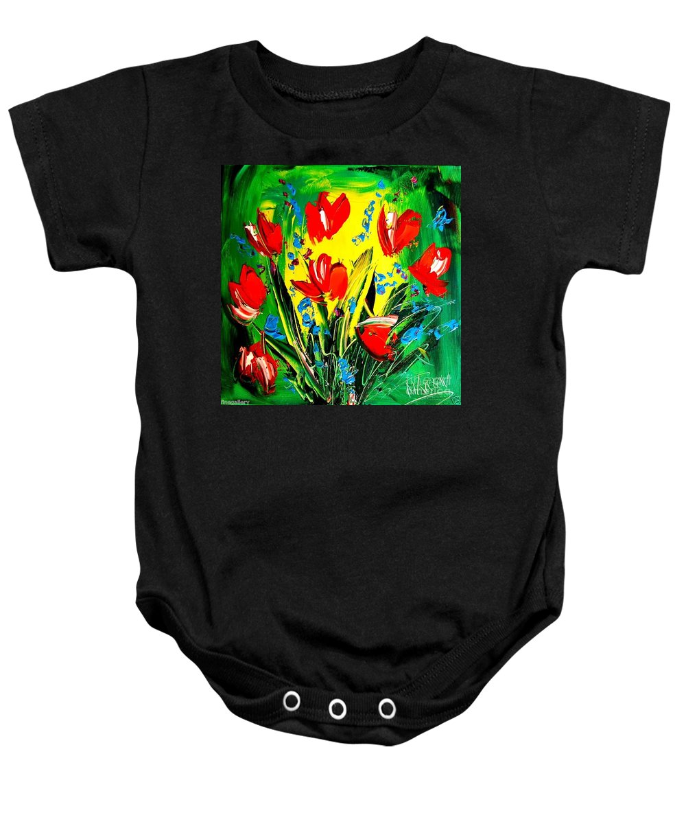 Music Jazz Piano Red Landscape Framed Prints Baby Onesie featuring the painting Poppies by Mark Kazav