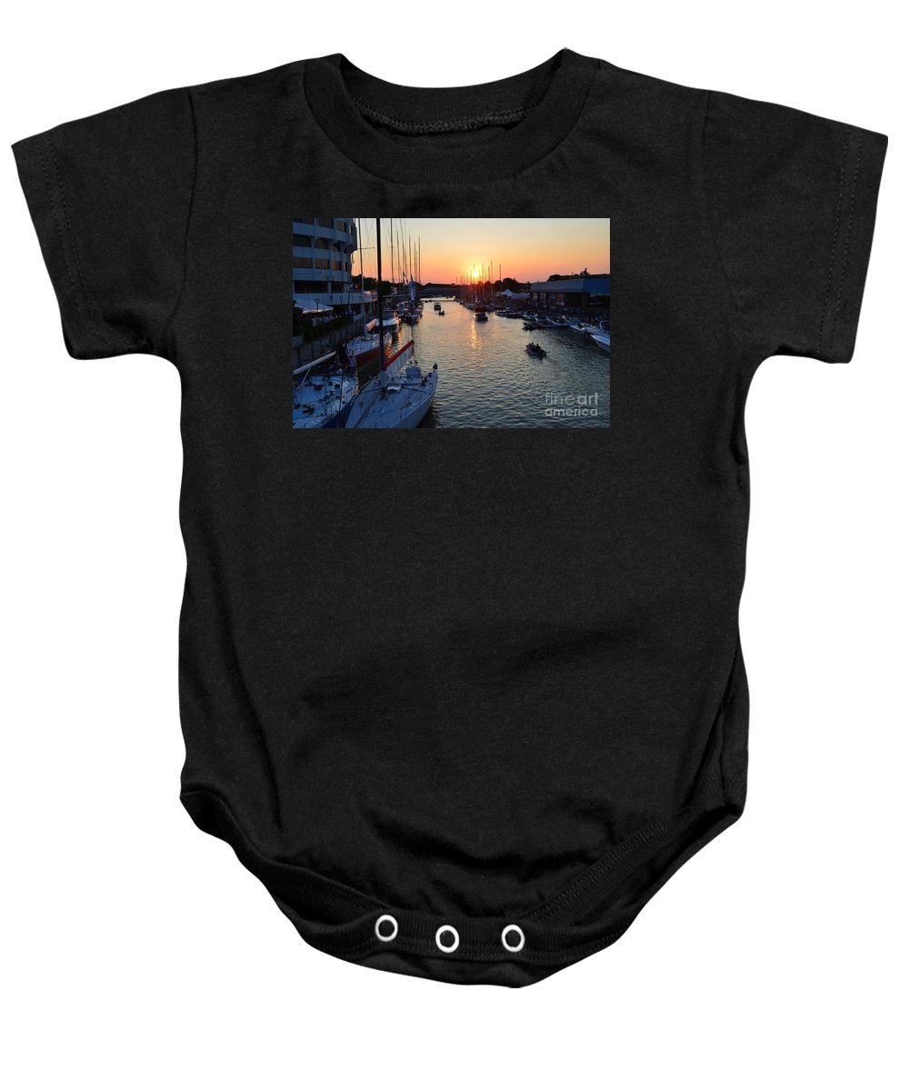 Mackinac Baby Onesie featuring the photograph Mackinac Race by Randy J Heath
