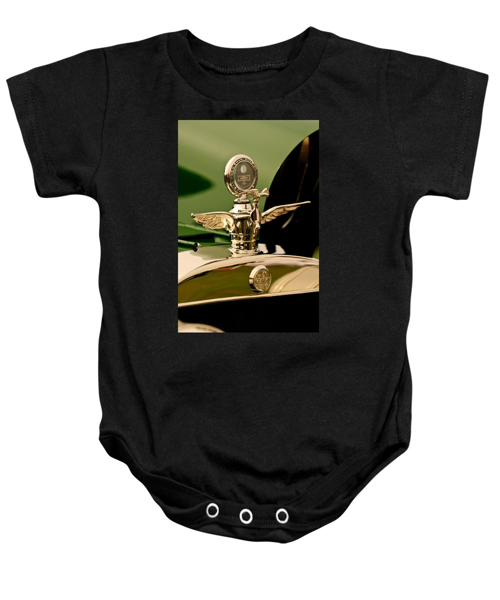 1919 Mcfarlan Type 125 Touring Baby Onesie featuring the photograph 1919 Mcfarlan Type 125 Touring Motometer - Hood Ornament by Jill Reger
