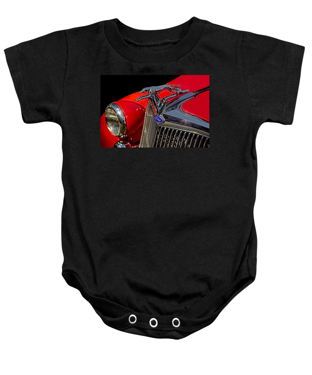 1936 Ford Car Baby Onesie featuring the photograph 1936 Ford Model 48 Emblem by Susan Candelario
