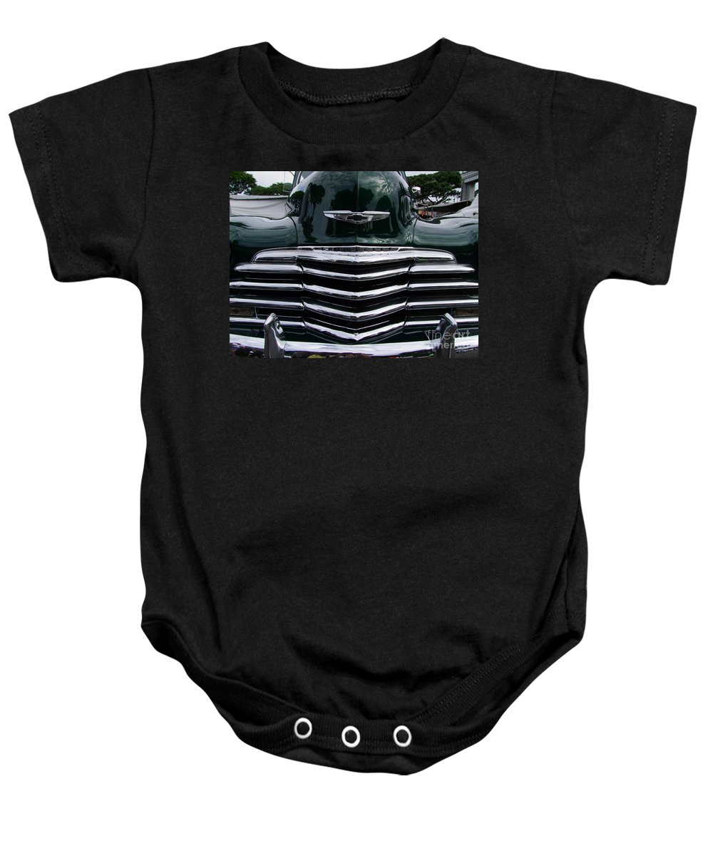1948 Baby Onesie featuring the photograph 1948 Chevy Coupe Grille by Mary Deal