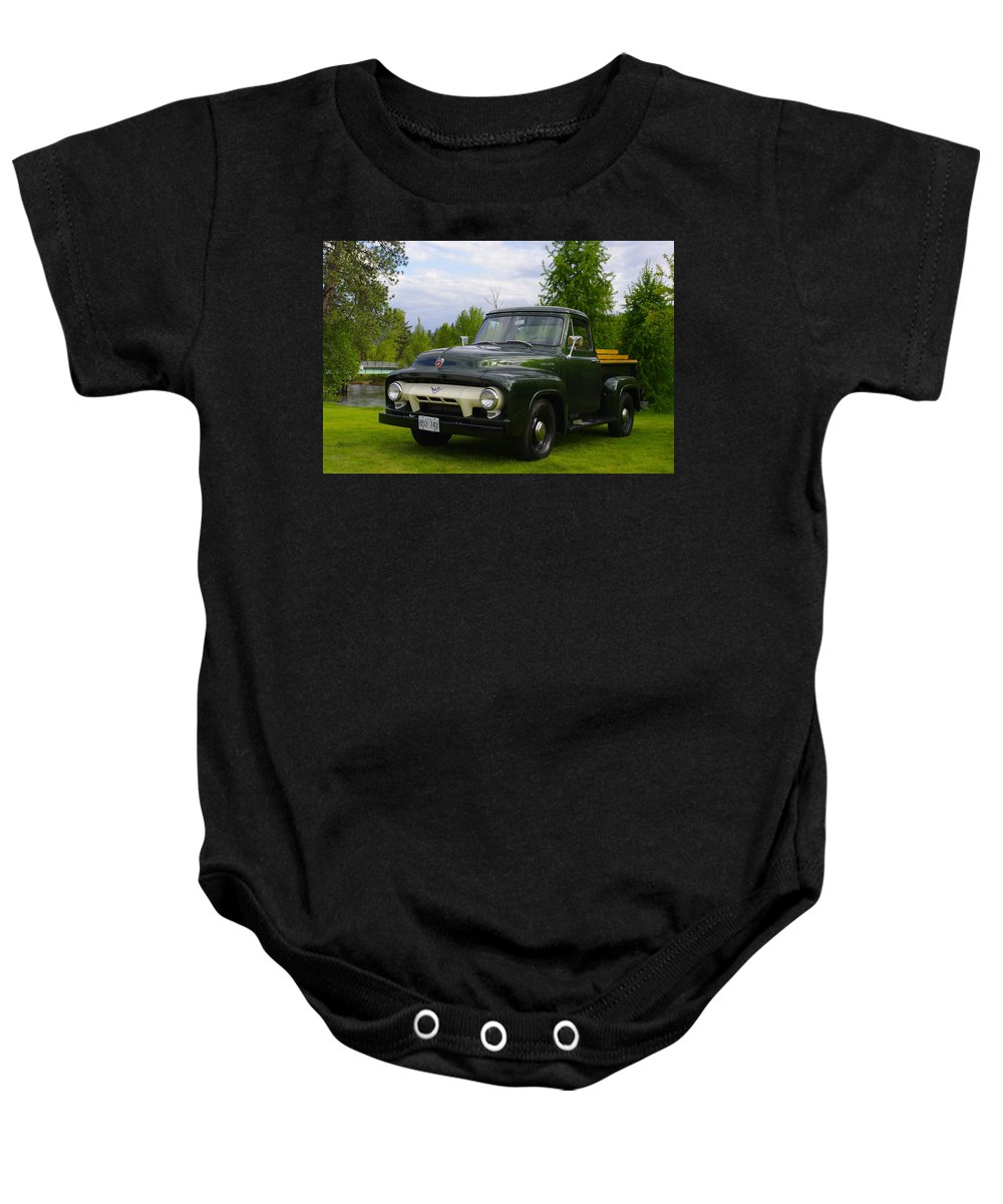 Truck Baby Onesie featuring the photograph 1953 Ford F-100 by John Greaves