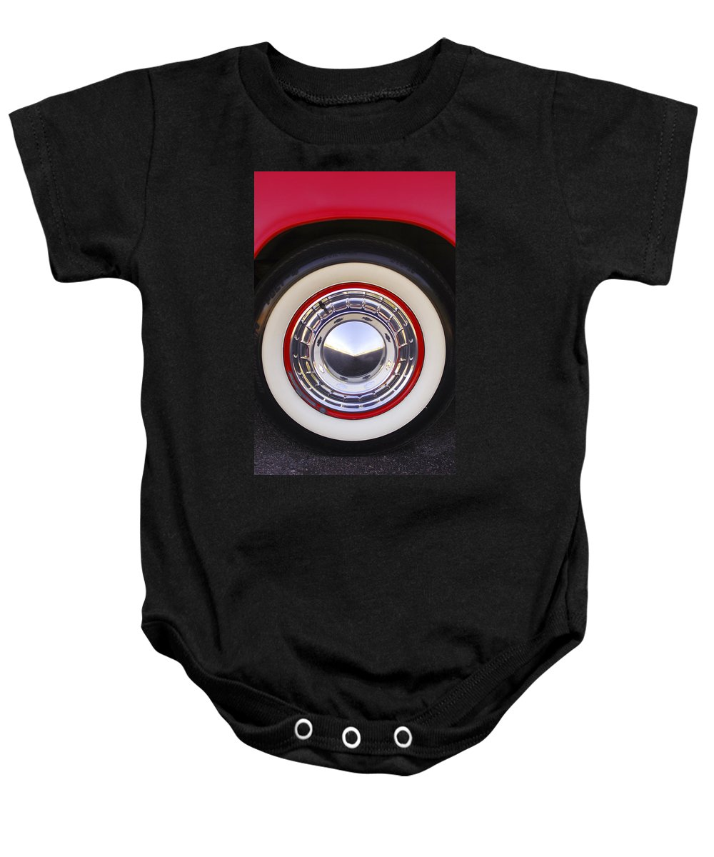 1955 Chevrolet Nomad Baby Onesie featuring the photograph 1955 Chevrolet Nomad Wheel by Jill Reger