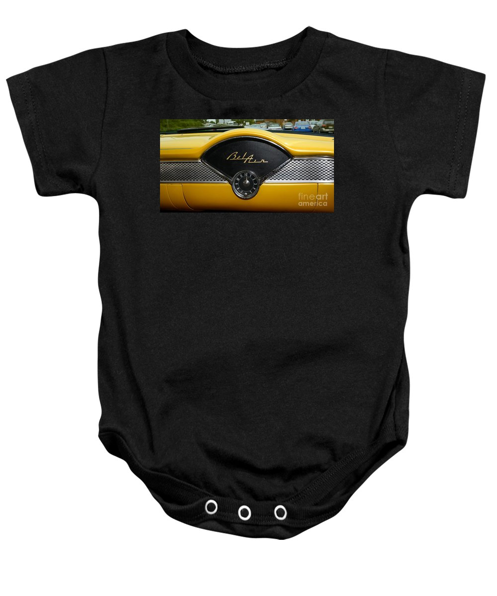 1955 Baby Onesie featuring the photograph 1955 Chevy Belair Clock by Paul Ward
