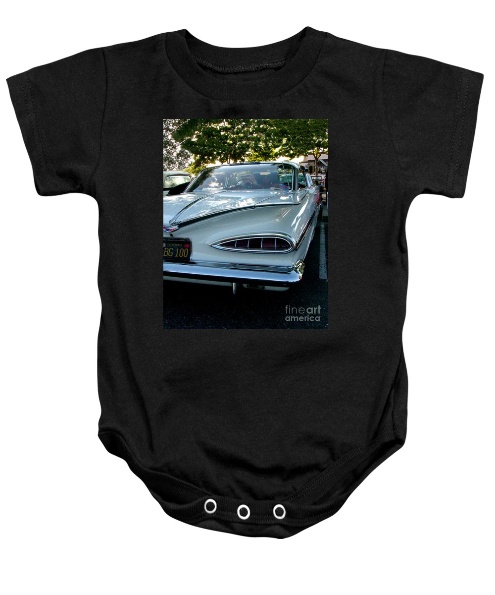 1959 Cheverolet Impala Baby Onesie featuring the photograph 1959 Chevrolet Impala Taillight by Peter Piatt