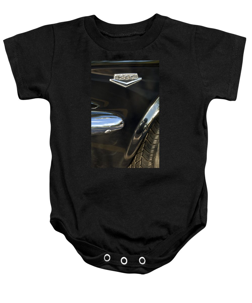 1965 Ford Mustang Baby Onesie featuring the photograph 1965 Ford Mustang Emblem 3 by Jill Reger