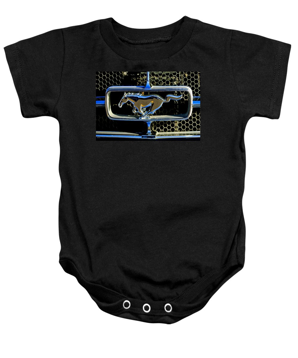 1965 Ford Shelby Mustang Baby Onesie featuring the photograph 1965 Ford Shelby Mustang Grille Emblem by Jill Reger
