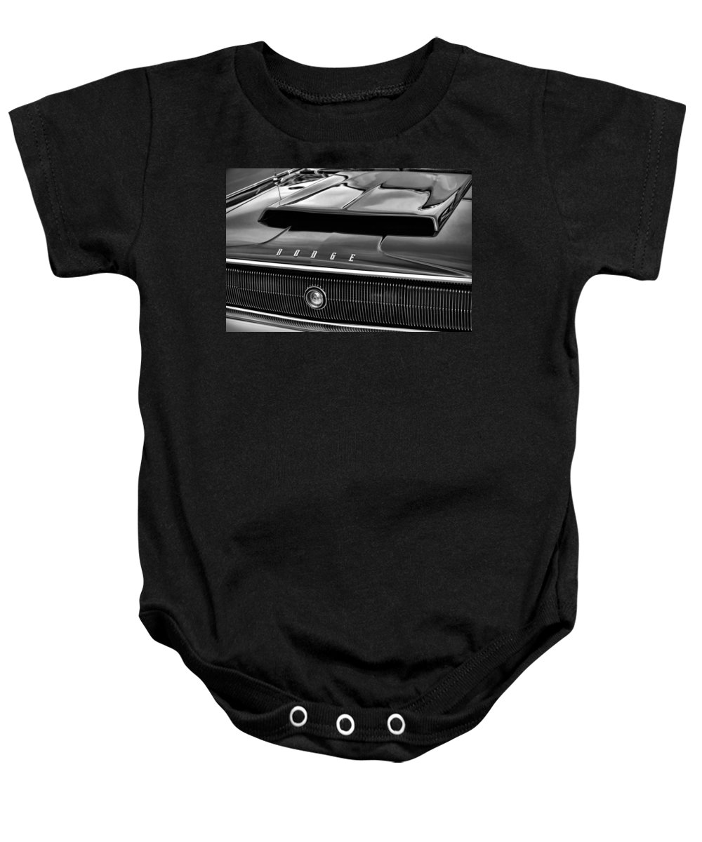 1966 Baby Onesie featuring the photograph 1967 Dodge Charger Hood Scoop by Gordon Dean II