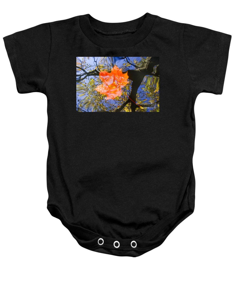 Leaf Baby Onesie featuring the photograph Autumn Leaf On The Water by Michal Boubin