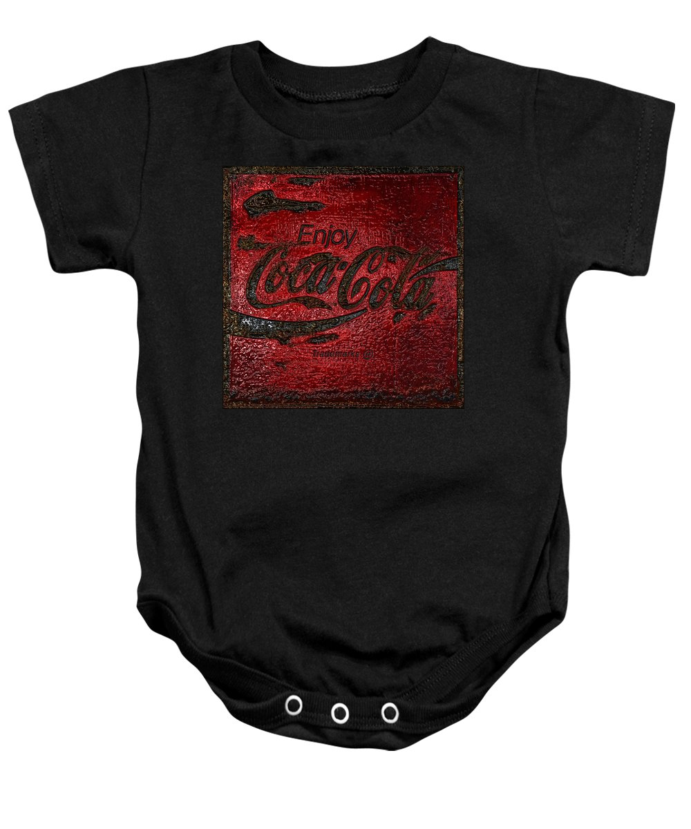 Coca Cola Baby Onesie featuring the photograph Coca Cola Classic Vintage Rusty Sign by John Stephens