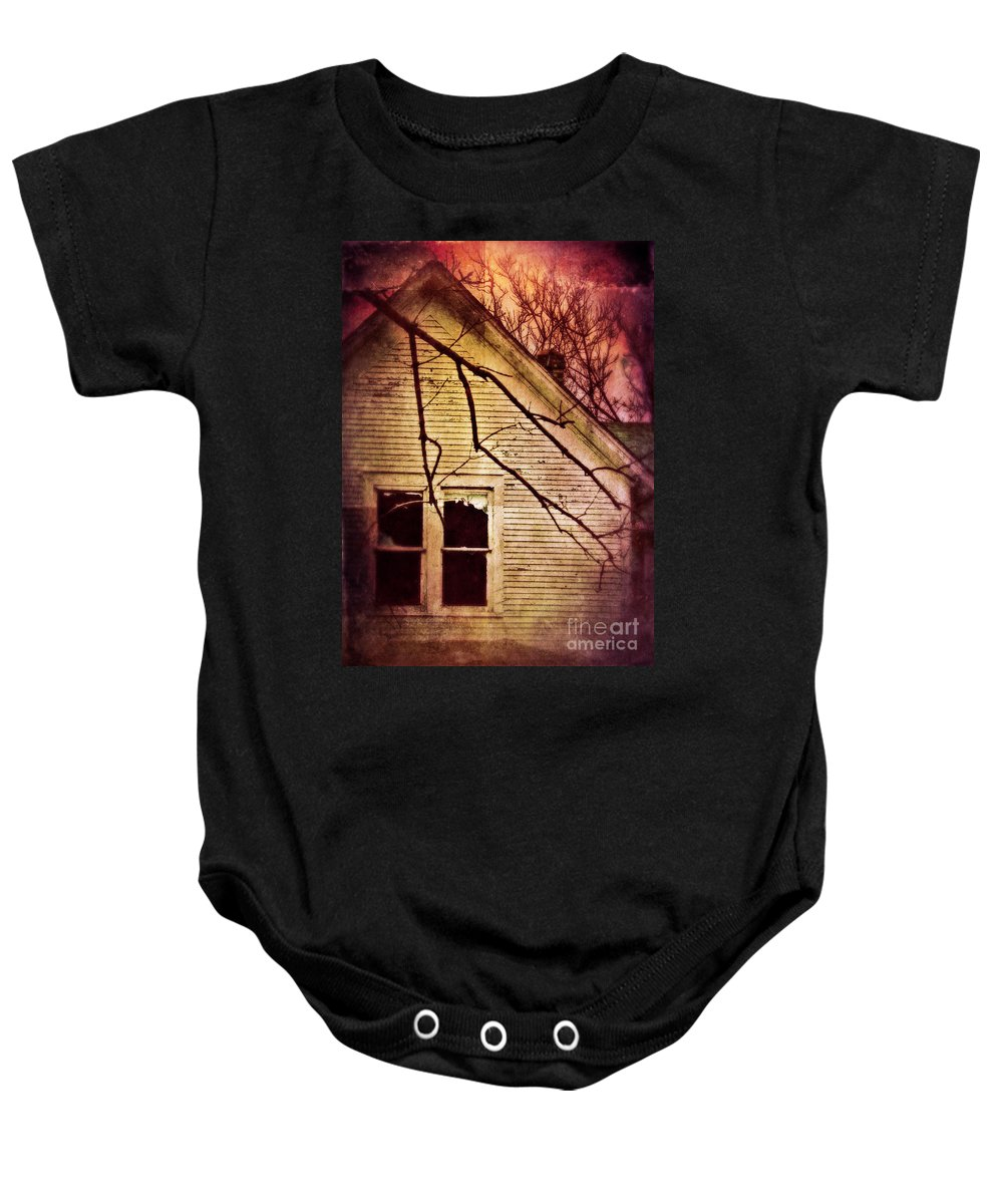 House Baby Onesie featuring the photograph Creepy Abandoned House by Jill Battaglia