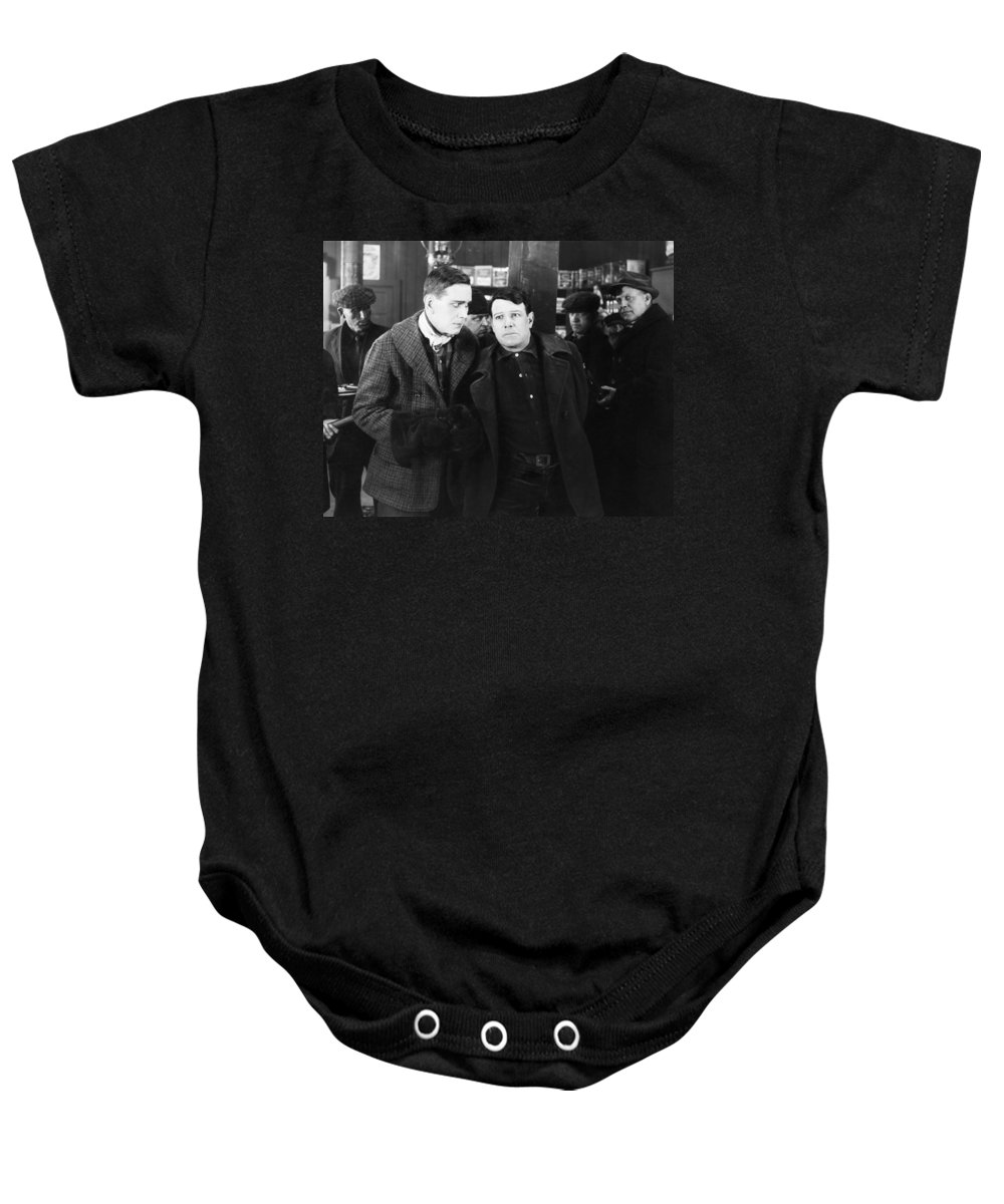 -ecq- Baby Onesie featuring the photograph Silent Still: Group Of Men by Granger