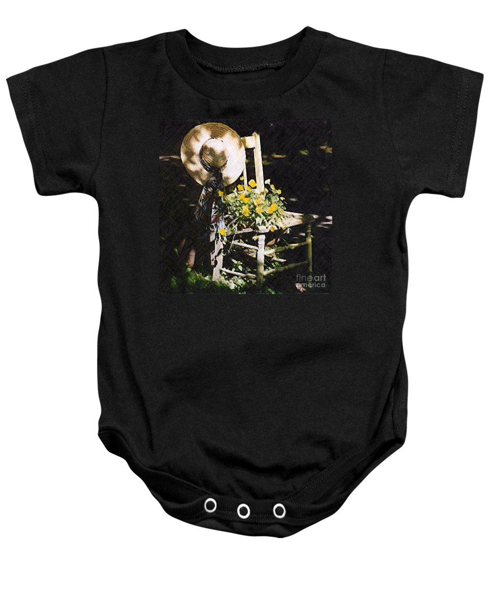 Chair Baby Onesie featuring the photograph Sit A Spell by Donna Bentley