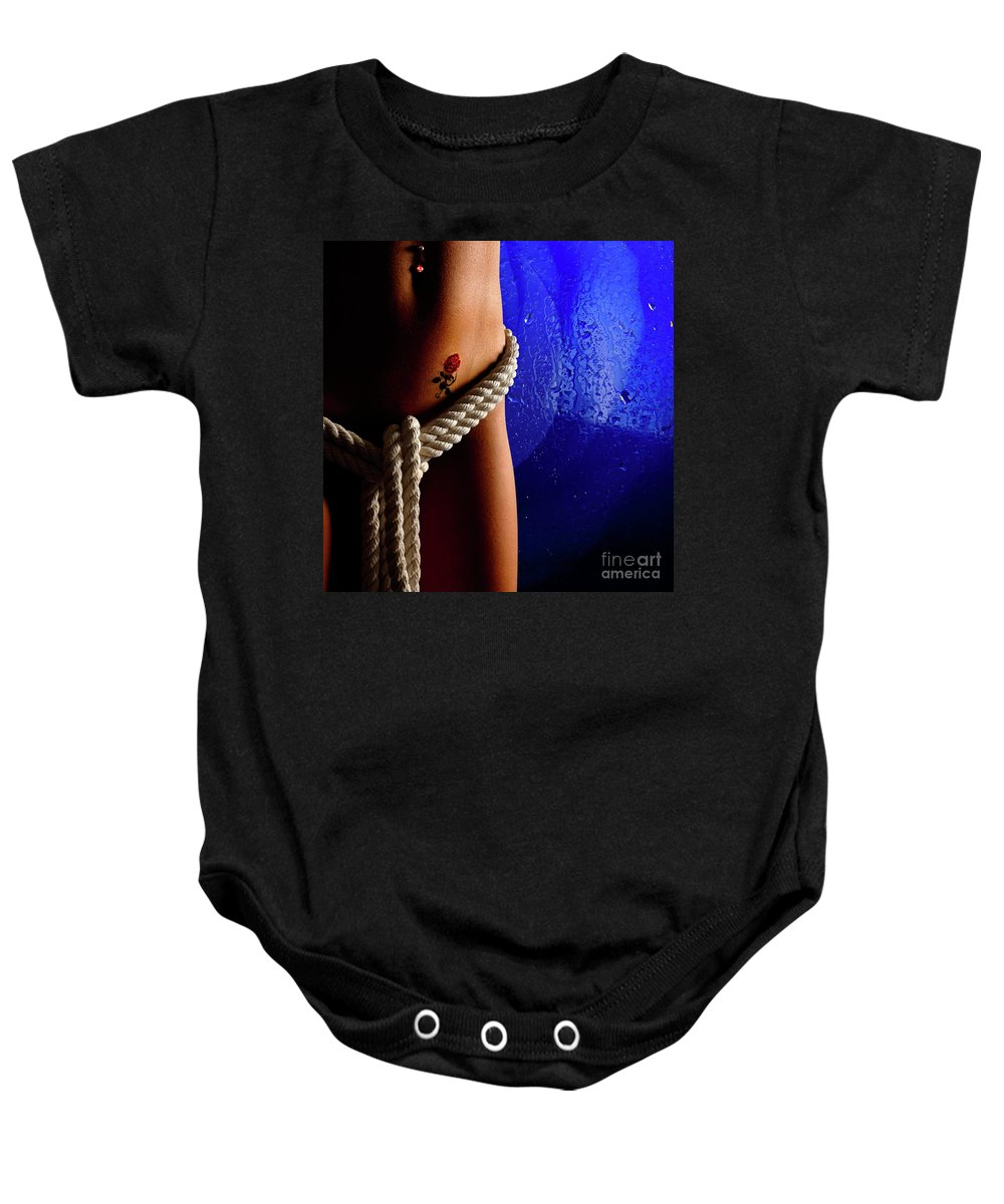 Nude Baby Onesie featuring the photograph Temptation by Oleksiy Maksymenko