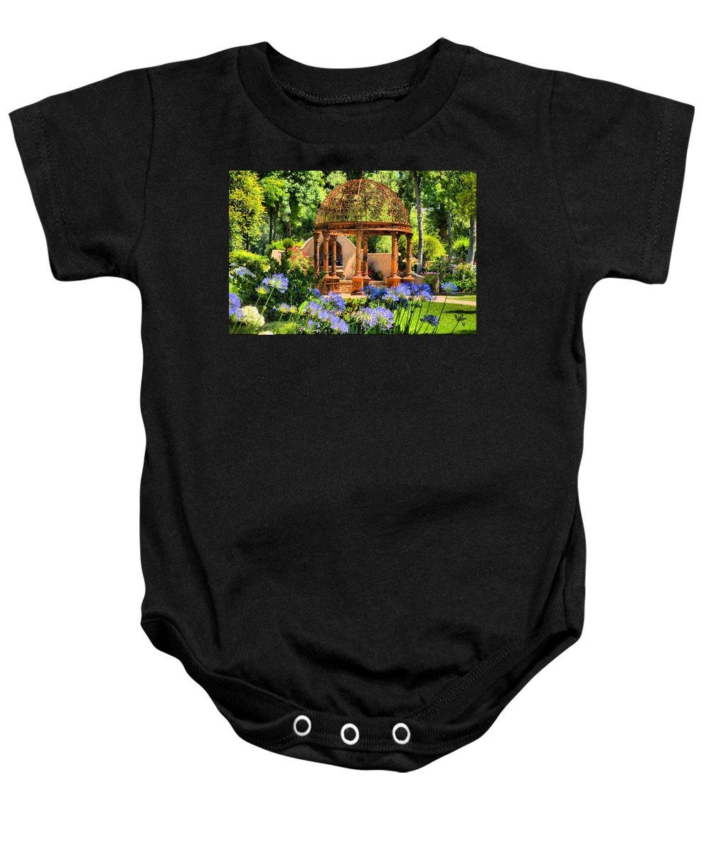 Gazebo Baby Onesie featuring the photograph Tuscan Garden by Lynn Bauer