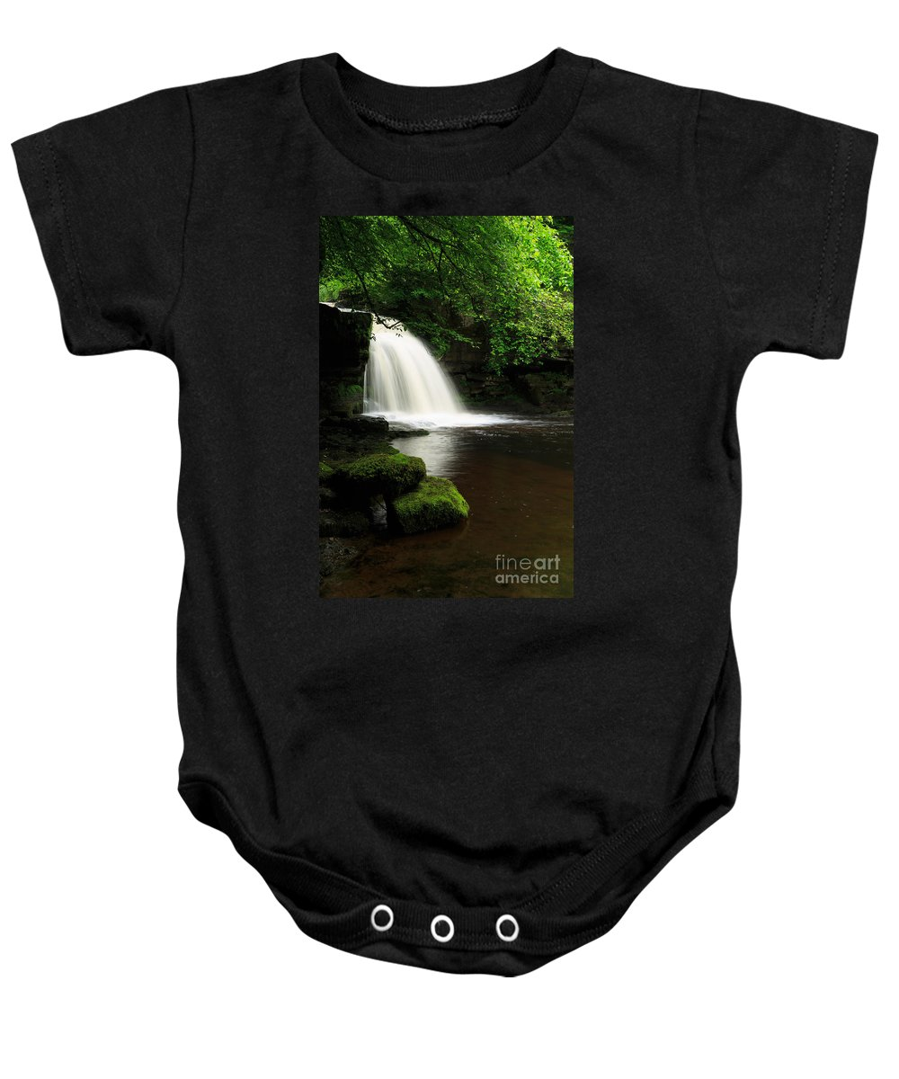 West Burton Falls Baby Onesie featuring the photograph West Burton Falls In Wensleydale by Louise Heusinkveld