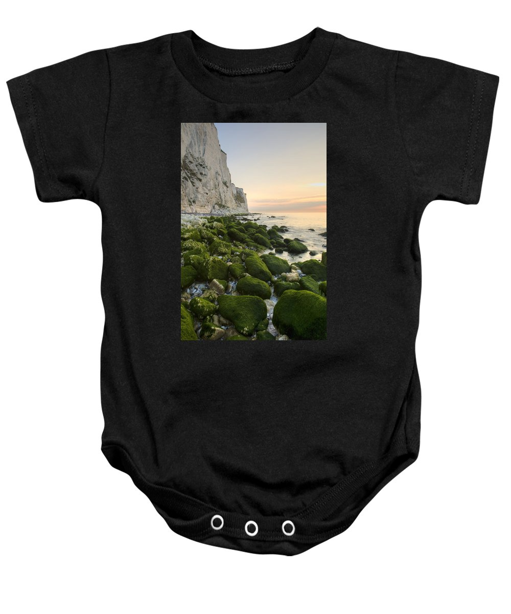Dover Baby Onesie featuring the photograph Sunrise At The White Cliffs Of Dover by Ian Middleton