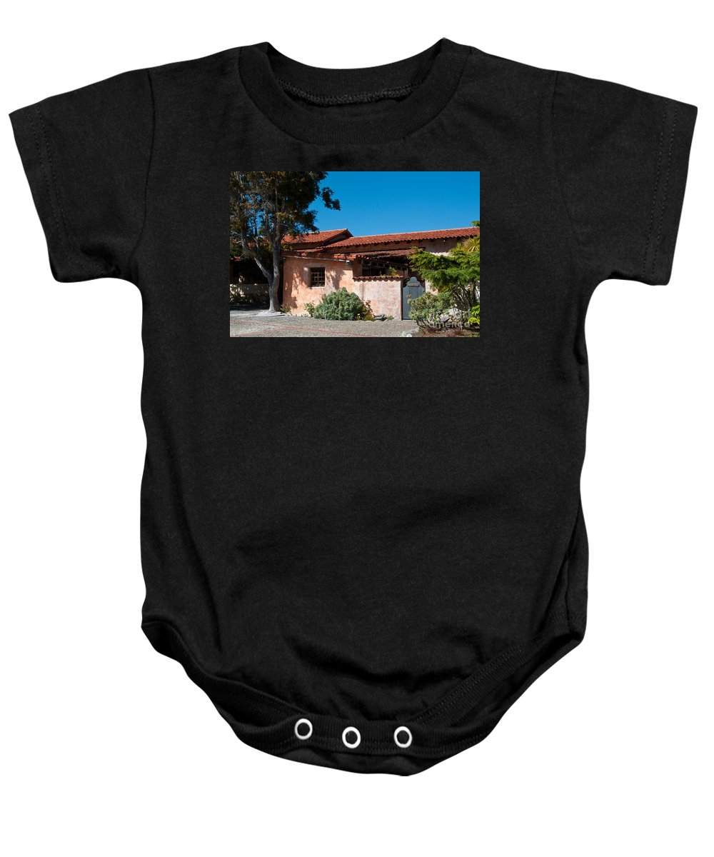 Landscape Baby Onesie featuring the digital art Gardens In Carmel Monastery by Carol Ailles