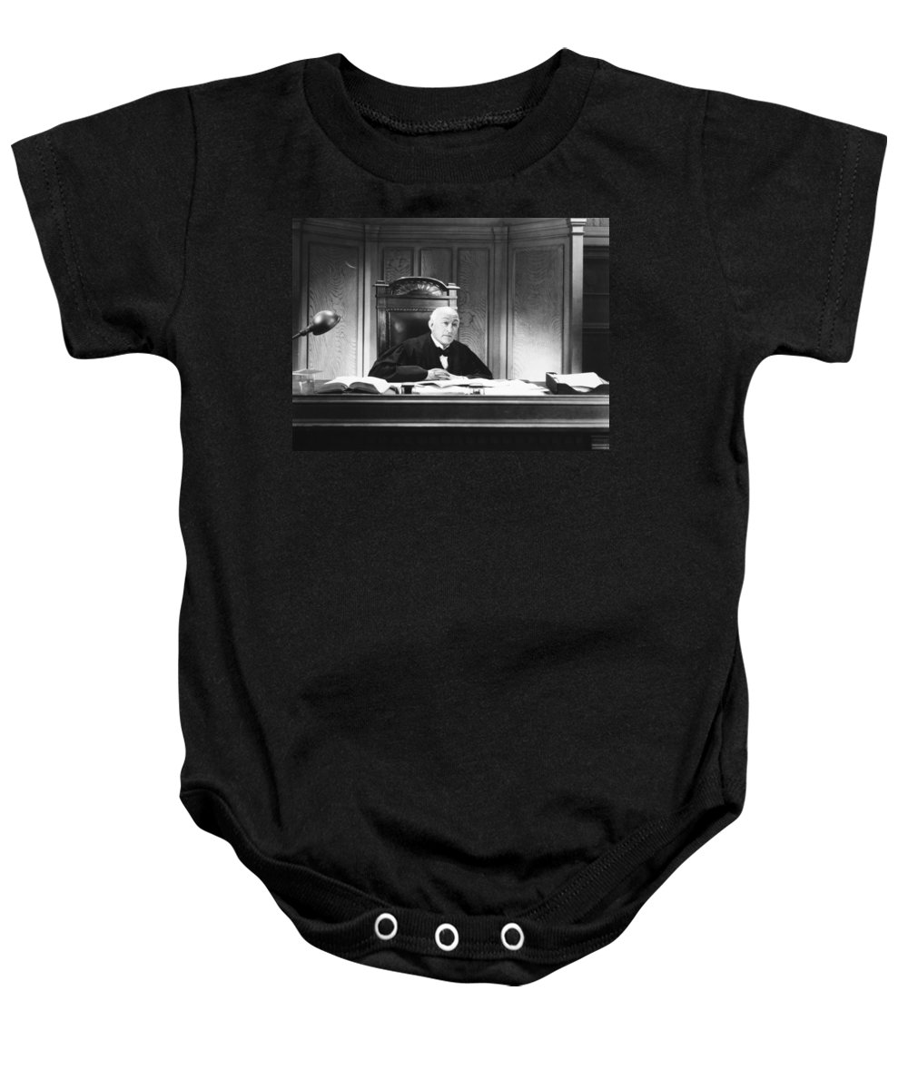 -courtroom- Baby Onesie featuring the photograph Silent Still: Courtroom by Granger